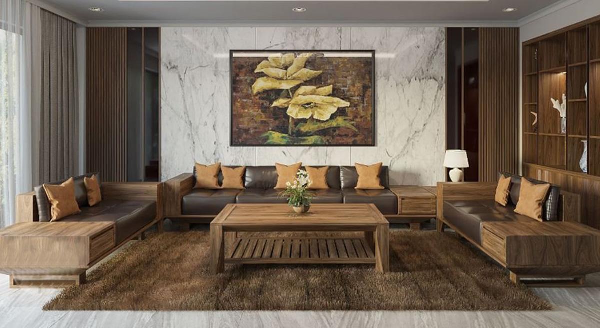 sofa gỗ lớn cho chung cư