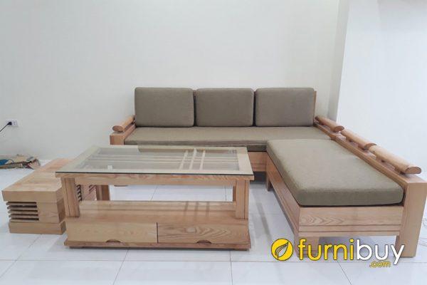 mẫu sofa góc gỗ sồi cho nhà chung cư đẹp